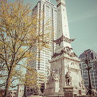 Retro picture of Indianapolis Indiana Soldiers and Sailors Monument. The monument is in downtown Indianapolis in Monument Circle and was created to honor Indiana Hoosier veterans. The picture has a vintage 1960's retro tone and is high resolution.