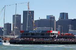 General view of the America's Cup village along the San Francisco Bay dduring the 2013 America's Cup Finals San Francisco, California.
