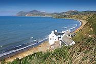 The sweeping beach at Porth Dinllaen, Gwynedd, North Wales, looking towards Yr Eifal mountain.