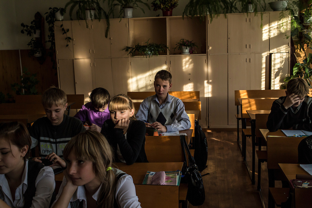 Students in an English class on Thursday, October 24, 2013 in Baikalsk, Russia.