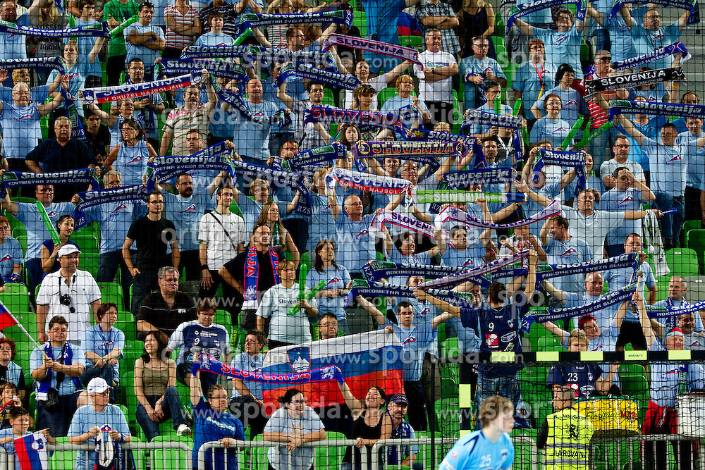 Fans of Slovenia during handball match between National teams of Slovenia and Ukraine of 2012 EHF Men's European Championship Play-off, on June 12, 2011 in  Arena Stozice, Ljubljana, Slovenia. Slovenia defeated Ukraine 43-32 and qualified to EURO Serbia 2012 (Photo By Vid Ponikvar / Sportida.com)