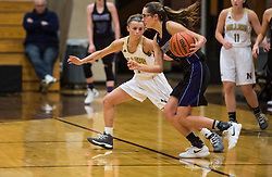 Olivia Morales plays defense during 2017, Girls Basketball NHS vs Northwestern., on 12, 21, 2017