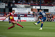 10th August 2019; Dens Park, Dundee, Scotland; SPFL Championship football, Dundee FC versus Ayr; Kane Hemmings of Dundee fires a shot just over the bar