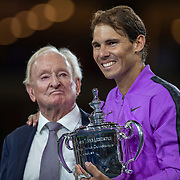 2019 US Open Tennis Tournament- Day Fourteen.   Rafael Nadal of Spain with tennis legend Rod Laver who presented the winners trophy after his five set victory against Danill Medvedev of Russia in the Men's Singles Final on Arthur Ashe Stadium during the 2019 US Open Tennis Tournament at the USTA Billie Jean King National Tennis Center on September 8th, 2019 in Flushing, Queens, New York City.  (Photo by Tim Clayton/Corbis via Getty Images)