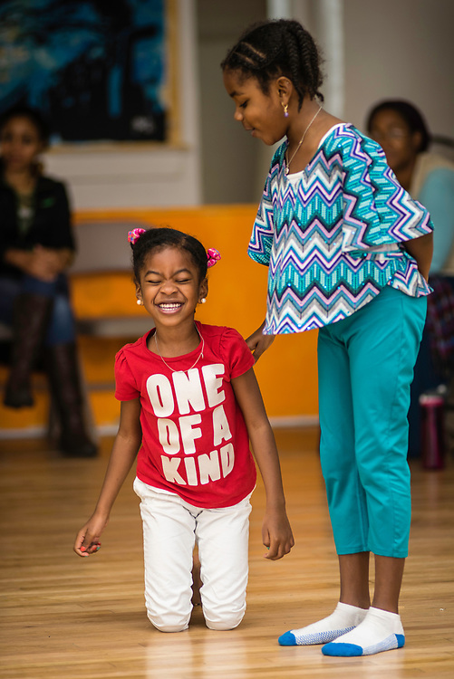 WASHINGTON, DC -- OCTOBER 13: Left to right: Rielle Bernard, 7, and her sister, RaeLynn (cq) Bernard, 5, participate in a drama class. <br /> At Sankofa Homeschool Community/Collective, DeLise Bernard has her three children, R.J., 10, Rielle, 7, and RaeLynn, 5, enrolled in writing and drama courses that meet once a week. Sankofa provides a curriculum with an emphasis on African American/Pan-African history and culture&hellip;. (photo by Andre Chung for The Washington Post)