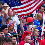 The United State fans in full swing during The United State and Jamaica concacaf gold cup quarterfinals match Sunday, June 19, 2011 at  RFK Stadium in Washington DC.