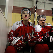 Two Minute Penalty…Petar Mihov, (left) and Stefan Georgiev, Bulgaria...Expressions in the penalty box of players serving a two minute penalty during the 2012 IIHF Ice Hockey World Championships Division 3 contested by New Zealand, Iceland, Bulgaria, Turkey and China at Dunedin Ice Stadium. Dunedin, Otago, New Zealand. January 2012. Photo Tim Clayton
