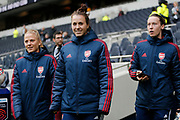Leonie Maier, Pauline Peyraud-Magnin and Viktoria Schnaderbeck before the FA Women's Super League match between Tottenham Hotspur Women and Arsenal Women FC at Tottenham Hotspur Stadium, London, United Kingdom on 17 November 2019.