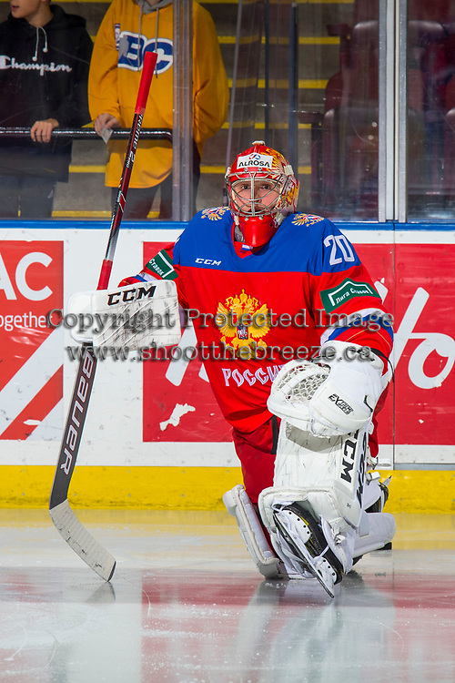 KELOWNA, BC - DECEMBER 18:  Petr Kochetkov #20 of Team Russia stretches on the ice during warm up against the Team Sweden at Prospera Place on December 18, 2018 in Kelowna, Canada. (Photo by Marissa Baecker/Getty Images)***Local Caption***
