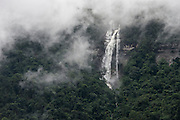 Waterfall off Tepuis <br /> (Flat-topped mountains)<br /> Pakaraima Mountains<br /> Potaro-Siparuni Region<br /> Brazil Guyana border<br /> GUYANA<br /> South America