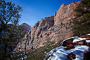 Zion National Park Landscape image of cliffs in the winter, Zion Utah