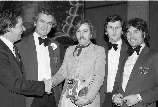 1980-03-09.9th March 1980.09-09-1980.03-09-80..Photographed at RTE Montrose, Dublin..Shay Healey taking the plaudits for writing the winning song What's Another Year.