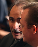 David Axelrod and Robett Gibbs at the resignation announcement of Rahm Emanuel.  Photo by Dennis Brack