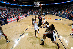 Maryland forward/center Crystal Langhorne (1) shoots over Virginia center Aisha Mohammed (33).  The Virginia Cavaliers women's basketball team fell to the #4 ranked Maryland Terrapins 74-62 at the John Paul Jones Arena in Charlottesville, VA on January 18, 2008.