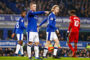 Everton striker Wayne Rooney (10) points the way during the Premier League match between Everton and Swansea City at Goodison Park, Liverpool, England on 18 December 2017. Photo by Simon Davies.