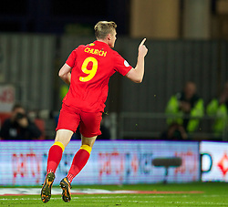 CARDIFF, WALES - Friday, October 11, 2013: Wales' Simon Church celebrates scoring the first goal against Macedonia during the 2014 FIFA World Cup Brazil Qualifying Group A match at the Cardiff City Stadium. (Pic by David Rawcliffe/Propaganda)