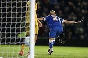 Brighton defender, Bruno Saltor (2) celebrates after scoring to make it 3-0 during the Sky Bet Championship match between Brighton and Hove Albion and Fulham at the American Express Community Stadium, Brighton and Hove, England on 15 April 2016.