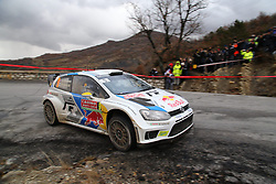 17.01.2014, Stage 10, Sisteron, FRA, FIA, WRC, Rallye Monte Carlo, 2. Tag, im Bild MIKKELSEN Andreas / MARKKULA Mikko ( VOLKSWAGEN MOTORSPORT II (DEU) / VOLKSWAGEN POLO R ), Aktion / Action // during Stage 10 on day two of FIA Rallye Monte Carlo held near Monte Carlo, France on 2014/01/17. EXPA Pictures © 2014, PhotoCredit: EXPA/ Eibner-Pressefoto/ Neis<br /> <br /> *****ATTENTION - OUT of GER*****