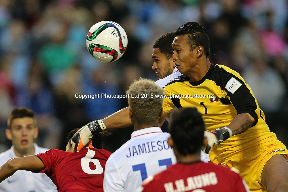 Cameron Carter of USA and goalkeeper Myo Min Latt of Myanmar challenge for the ball in the Group A FIFA U20 World Cup Match between USA and Myanmar at Northlands Event Centre, Whangarei, Northland, New Zealand, Saturday, May 30, 2015. Copyright photo: David Rowland / www.photosport.co.nz