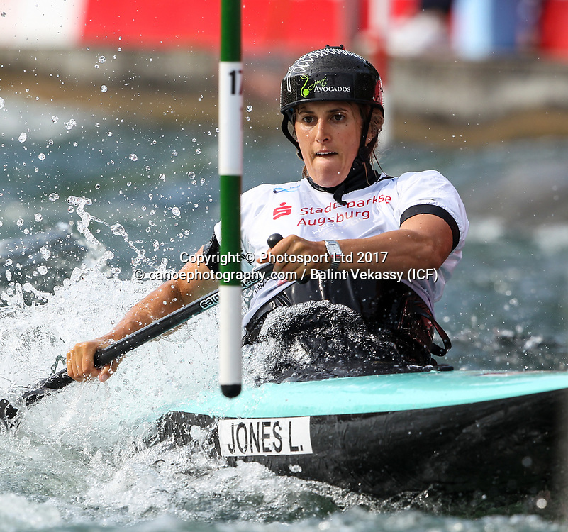 Luuka Jones of New Zealand.<br /> 2017 ICF Canoe Slalom World Cup 2 in Augsburg, Germany held 23-25 June 2017.<br /> Copyright photo: Balint Vekassy / www.photosport.nz