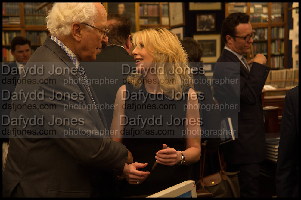 SIR EVELYN DE ROTHSCHILD; VICKY WARD; ;  Book party for 'The Liar's Ball' by Vicky Ward hosted by  Sir Evelyn  de Rothschild at Henry Sotheran's, 2 Sackville Street London. 25 November 2014