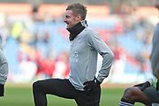 Leicester City forward Jamie Vardy warming up before the Premier League match between Burnley and Leicester City at Turf Moor, Burnley, England on 19 January 2020.