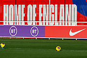 England and advertising boards during the England football team training session at St George's Park National Football Centre, Burton-Upon-Trent, United Kingdom on 13 November 2019.