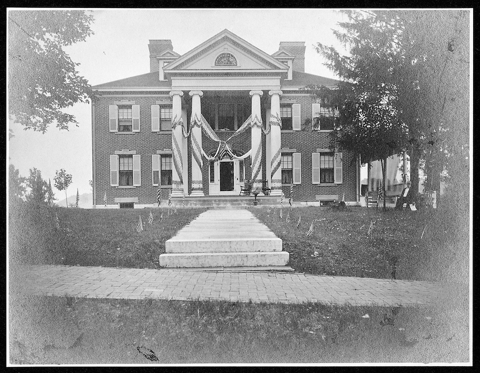 Grosvenor House with Bunting, Gen Grosvenor to right. ca. 1907. Charles H. Grosvenor Collection