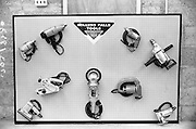 9/08/1966<br /> 08/19/1966<br /> 19 August 1966<br /> Millers Falls Tools display units, advertisement photographs at a premises on the Naas Road, Dublin.  Image shows a selection of power tools.