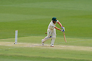 16th December 2018, Optus Stadium, Perth, Australia; International Test Series Cricket, Australia versus India, second test, day 3; Aaron Finch of Australia plays and misses outside the off stump during Australias second innings