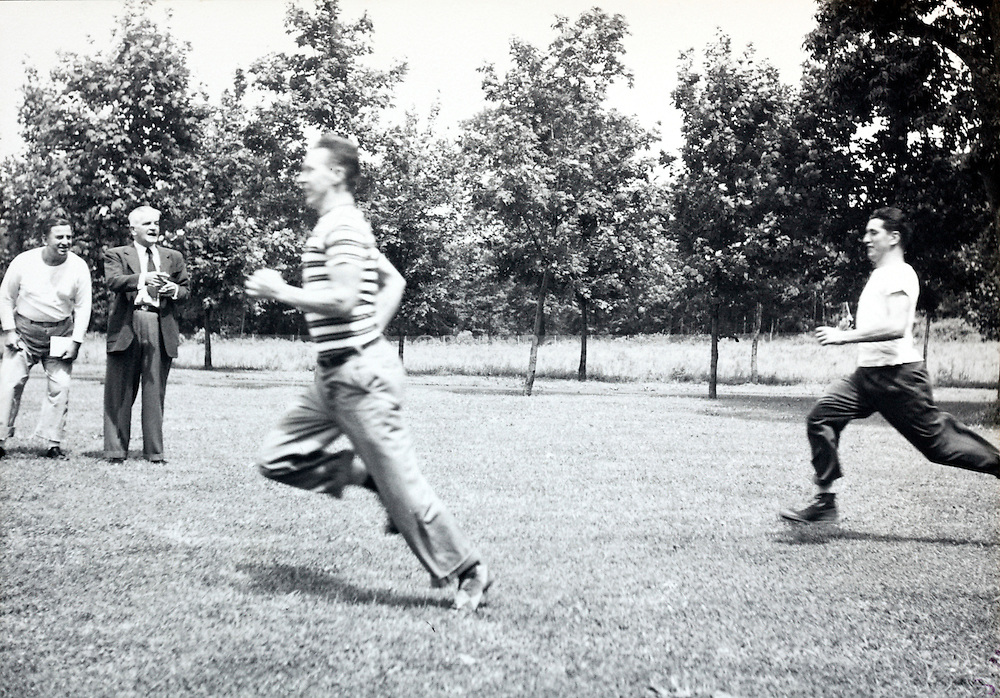 running event during a company recreational day outing America 1940s