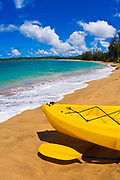 Kayak on beach at Hanalei Bay, Island of Kauai, Hawaii USA