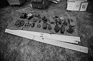 """Various types of pullies typicall used in pull barns are an example of collected like items for sale during the annual """"50 Mile Yardsale"""", Saturday, July 20, 2016 along Route 90 in the Cayuga Lake region of the Finger Lakes, New York."""