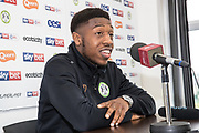 Ebou Adams signs a contract ahead of the 2019/20 season with Forest Green Rovers at the New Lawn, Forest Green, United Kingdom on 18 June 2019.