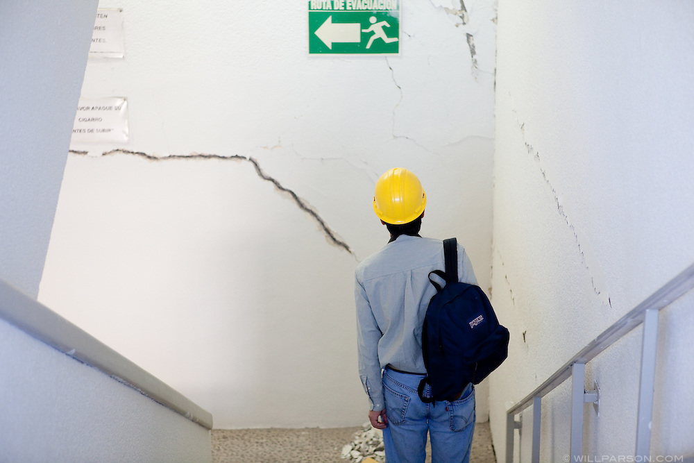 Dr. Benson Shing inspects damage inside the Mexicali federal building. A group of researchers led by Dr. Shing, Vice Chair of the Department of Structural Engineering at the University of California, San Diego, inspected the earthquake damage in Mexicali, Mexico, April 7, 2010. A 7.2 magnitude earthquake in Baja California on Easter Sunday was felt as far away as Los Angeles.