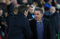 Football - 2016 / 2017 Premier League - Southampton vs. Tottenham Hotspur<br /> <br /> Southampton Manager Claude Puel welcomes former Saints boss and now Tottenham Hotspur Manager Mauricio Pochettino before kick off at St Mary's Stadium Southampton England<br /> <br /> COLORSPORT/SHAUN BOGGUST