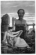 Herodotus (c4485-425 BC), historian, called the Father of History. Figure of Herodotus based on an antique bust . Wood engraving 1866.