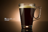 Cofee on brown background