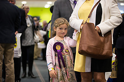 © Licensed to London News Pictures . 25/09/2015 . Doncaster , UK . A girl with UKIP rosette and badge at the 2015 UKIP Party Conference at Doncaster Racecourse , this morning (Friday 25th September 2015) . Photo credit : Joel Goodman/LNP