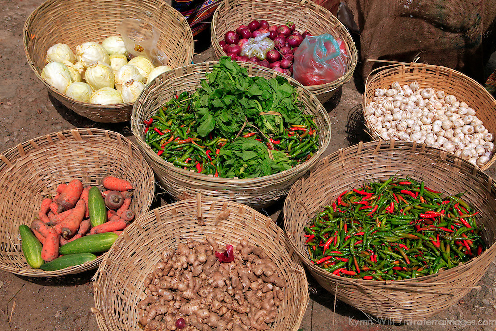 Asia, Bhutan, Wangdue Phodrang. Vegetables at Wangdue Phodrang market.