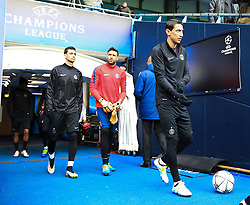 Angel di Maria and Salvadore Sirigu walk out to train  - Mandatory byline: Matt McNulty/JMP - 07966386802 - 11/04/2016 - FOOTBALL - Manchester City v PSG - Etihad Stadium -Manchester,England - UEFA Champions League