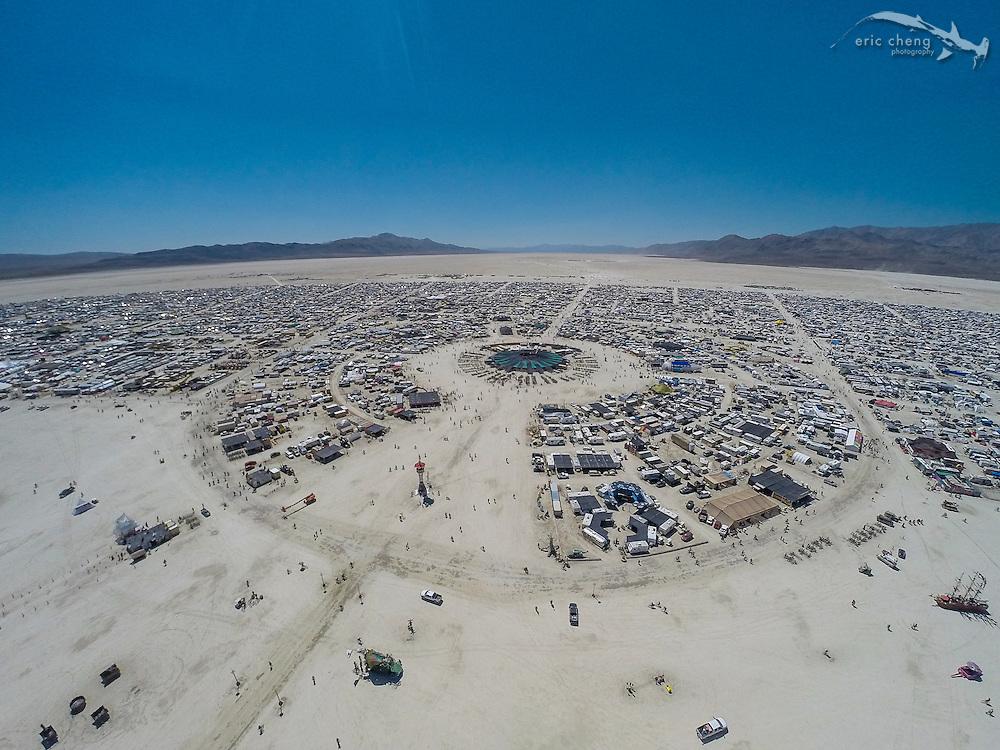 Aerial view of Center Camp. DJI Phantom 2, GoPro HERO 3+ Black. Burning Man 2014.