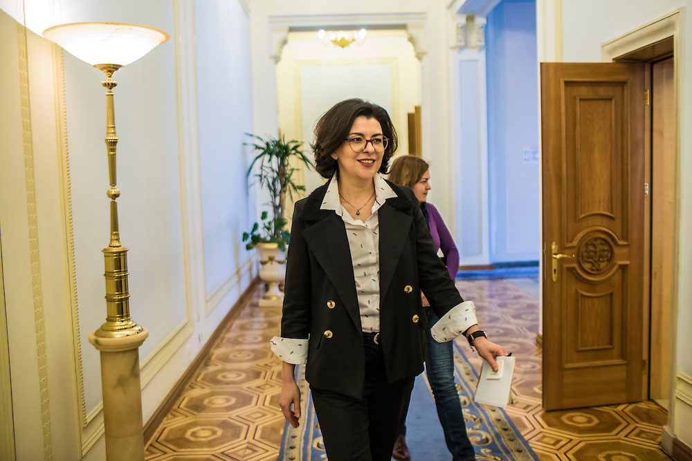 KIEV, UKRAINE - MARCH 4, 2016: Oksana Syroyid, deputy speaker of the Ukrainian parliament, walks through the parliament building on her way to a meeting with ambassadors from the Council of Europe in Kiev, Ukraine. Syroyid is one of parliament's main opponents of the constitutional reforms called for in the Minsk agreement intended to resolve fighting in eastern Ukraine. CREDIT: Brendan Hoffman for The New York Times