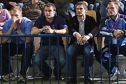 Miha Zvizej, Uros Zorman, Bostjan Kavas and Aljosa Rezar of Slovenia just watch qualification match for  Euro 2010 in Austria between national teams of Slovenia and Germany, Group 5, on November 2, 2008 in Arena Zlatorog, Celje, Slovenia. (Photo by Vid Ponikvar / Sportal Images)/ Sportida