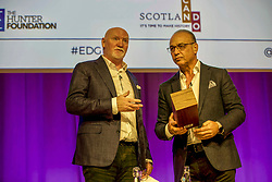 Theo Paphitis of BBC's Dragons' Den in conversation with entrepreneur Sir Tom Hunter at the Scottish Edge startup finals held at RBS HQ, Gogarburn, Edinburgh. Pic: Terry Murden @edinburghelitemedia