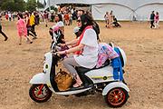 Henham Park, Suffolk, 19 July 2019. A mods disability scooter - The 2019 Latitude Festival.