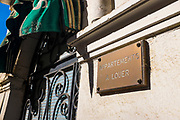Plaque reading Apartments a Louer, Vernet les Bains, Pyrenees Orientales, France