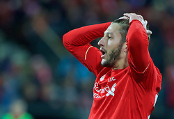 ADELAIDE, AUSTRALIA - Monday, July 20, 2015: Liverpool's Adam Lallana looks dejected after missing a chance against Adelaide United during a preseason friendly match at the Adelaide Oval on day eight of the club's preseason tour. (Pic by David Rawcliffe/Propaganda)