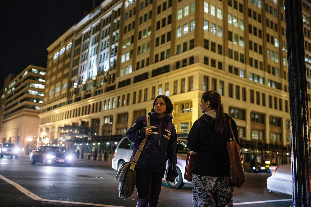 After her mom gets out of work at the Willard Hotel in DC, she and her daughter take a taxi back home so they can have dinner and Daniela can finish her homework.