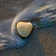 Heart Rock in wave, The Sound, Cutchogue, New York